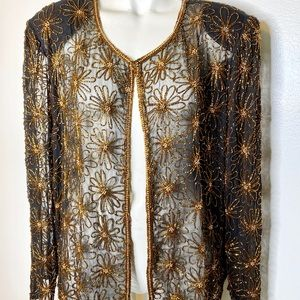 Mark & John by Gopal black Gold Beaded Jacket XL